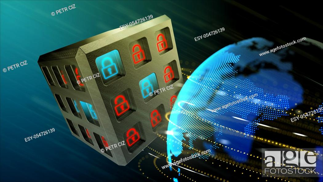 Stock Photo: Safety system concept for digital data. Security of information systems background.