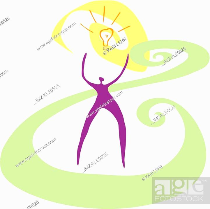 Stock Photo: A person reaching towards a lightbulb flashing above.