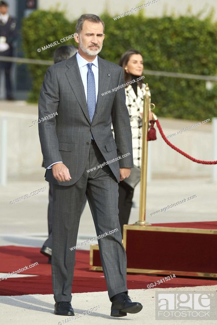 Stock Photo: King Felipe VI of Spain, Queen Letizia of Spain depart from Adolfo Suarez Madrid-Barajas Airport to Cuba for Two Days State Visit on November 11, 2019 in Madrid.