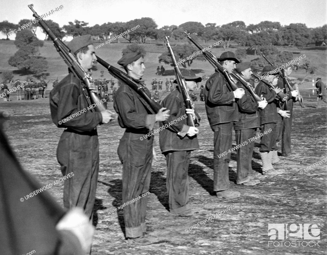 Stock Photo: Fort Ord, California: November 19, 1940.Introduction to the manual of arms offered complications and little precision as these volunteers for the U.S.