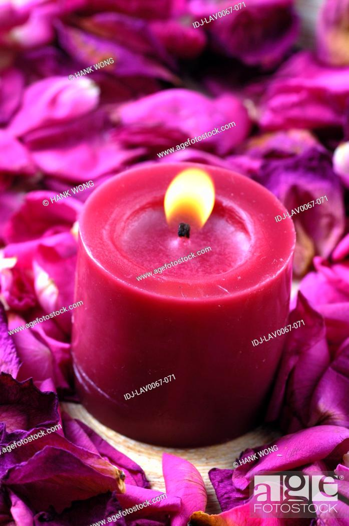 Stock Photo: Candle lit up near rose petals.