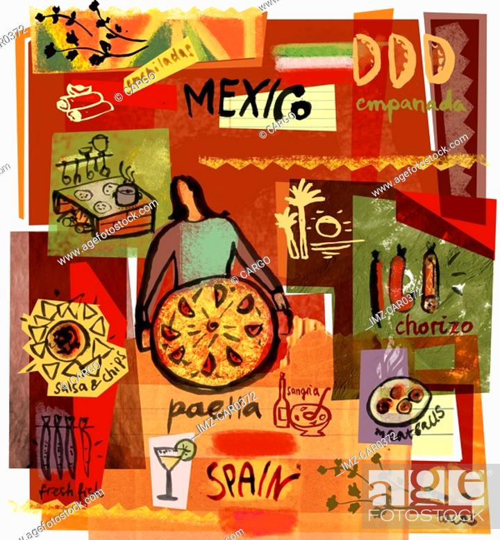 Stock Photo: Collage of Mexican and Spanish foods.