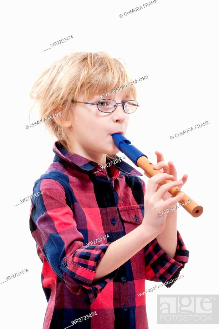 Stock Photo: boy with blond hair and glasses playing flute - isolated on white.