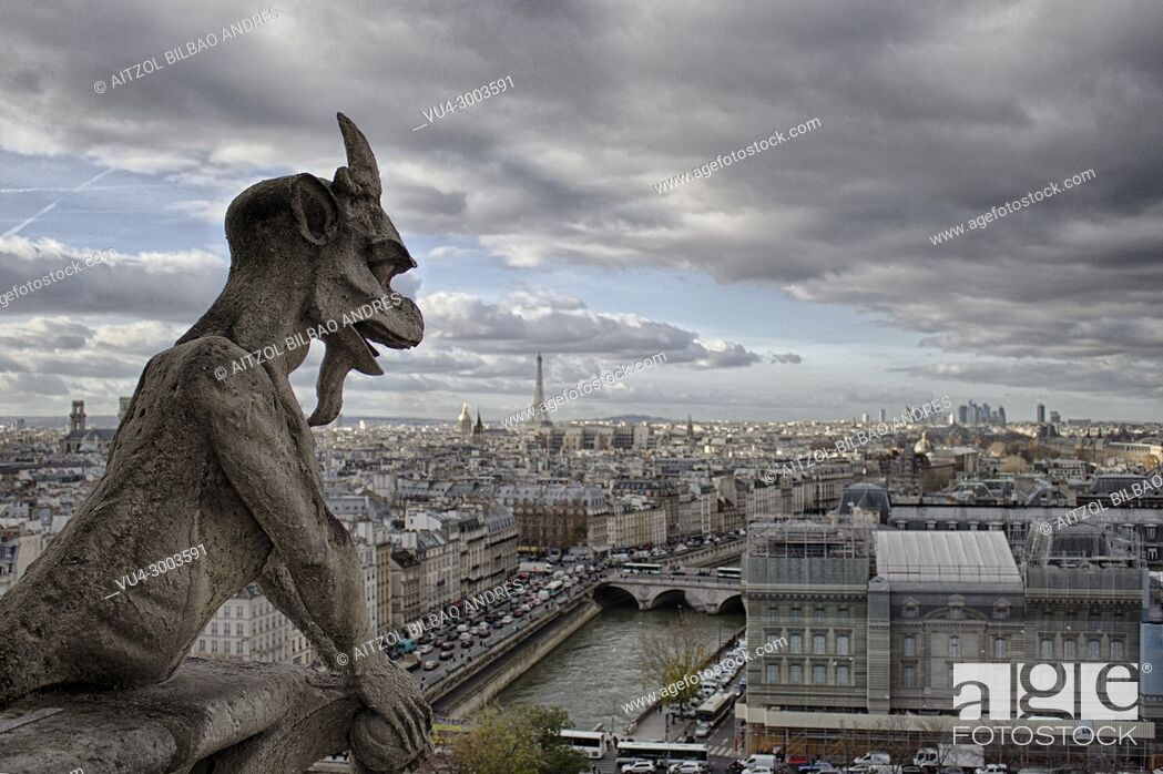 Stock Photo: Gargoyle of Notre dame cathedral, a typical view from the higher part of the cathedral.