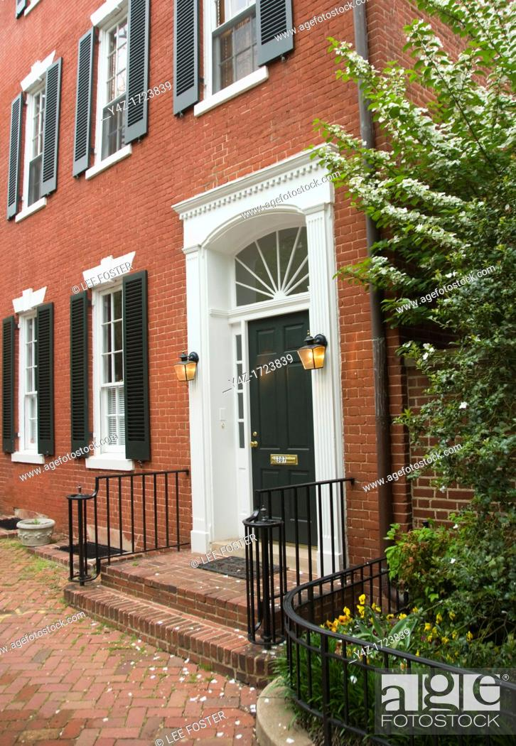 Stock Photo: Washington DC, USA: The Georgetown area, known for its shopping and historic brick homes. John and Jacqueline Kennedy house, Marbury House, 3307 N Street NW.