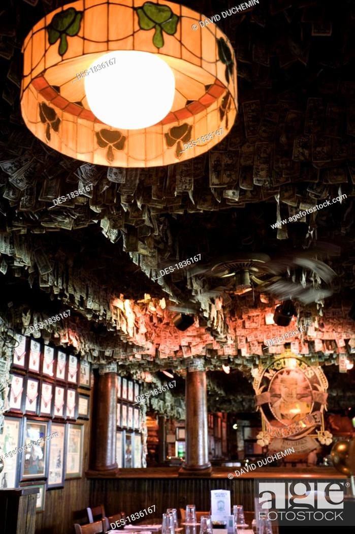 Stock Photo: Pensacola, Florida, USA, Antique lamp in restaurant.
