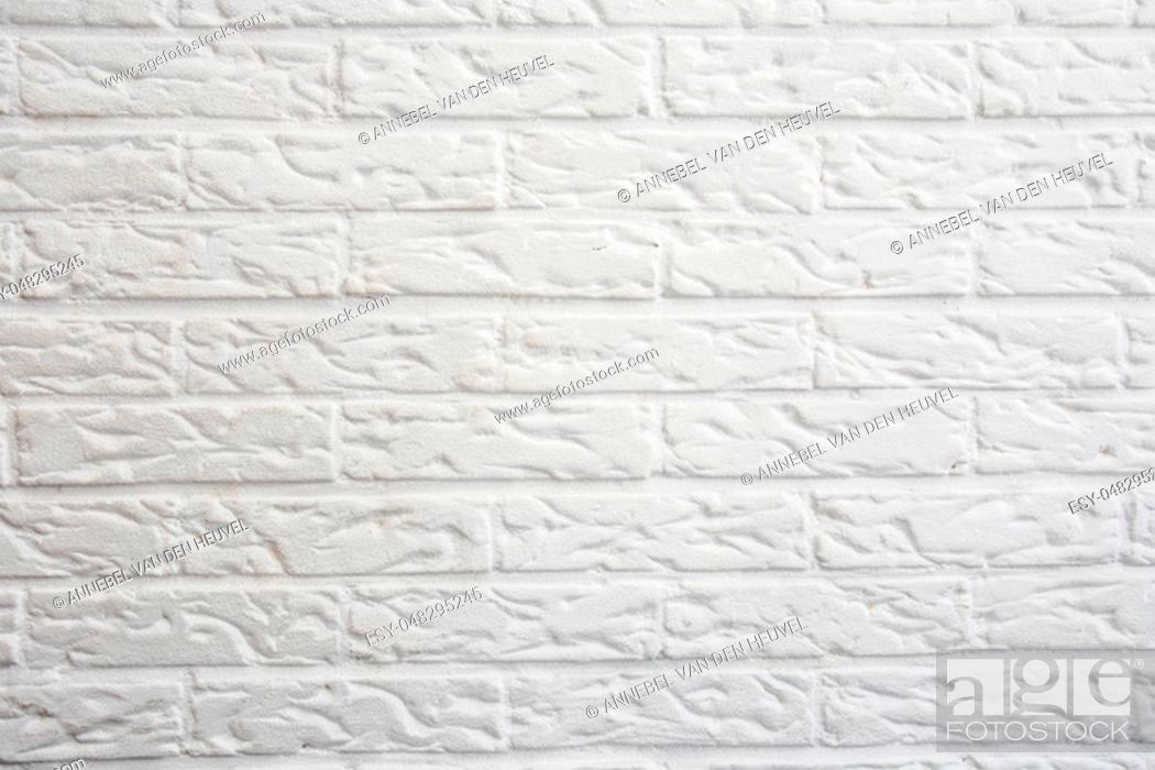 Stock Photo: ceramic white brick tile wall modern design background texture clean.