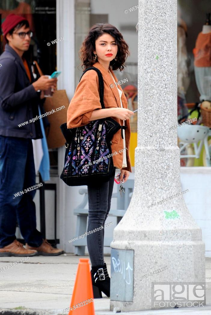 "Stock Photo: Sarah Hyland spotted filming scenes for her upcoming comedy movie """"The Wedding Year"""" in Los Angeles with co star Anna Camp."