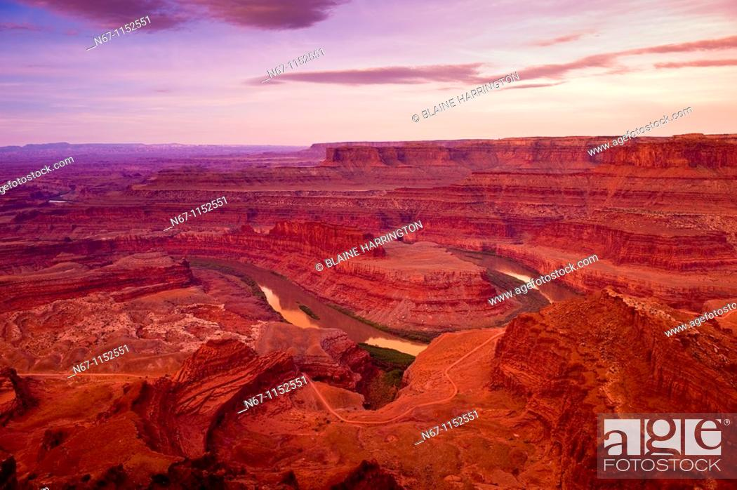 Stock Photo: The Colorado River flowing below Dead Horse Point State Park, near Canyonlands National Park, outside Moab, Utah USA.