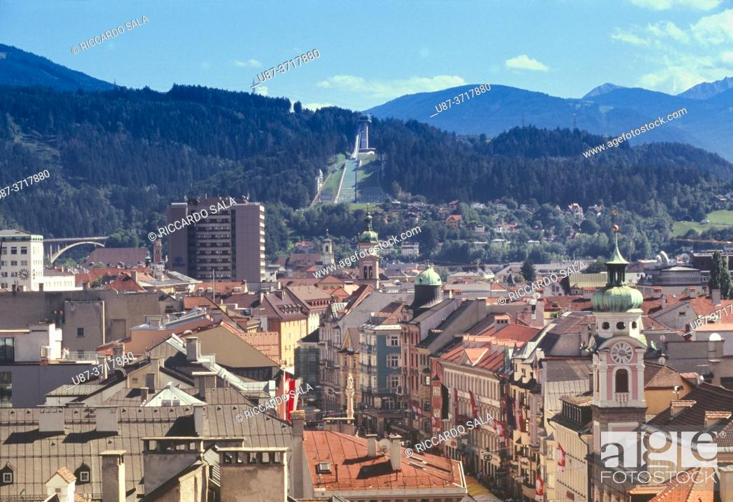Stock Photo: Austria, Insbruck, City View background Olympic Sky Jump Tower. . .