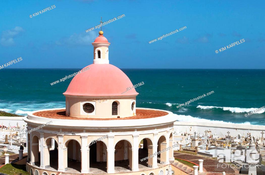 Stock Photo: PUERTO RICO  San Juan. . San Juan cemetery in Old San Juan near El Morro fort, red-domed chapel from late 19th century.