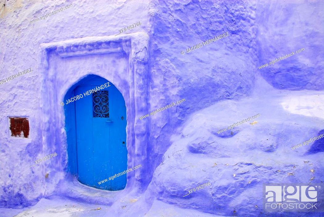 Stock Photo: Typical Chefchaouen blue door. Rif region. Morocco.