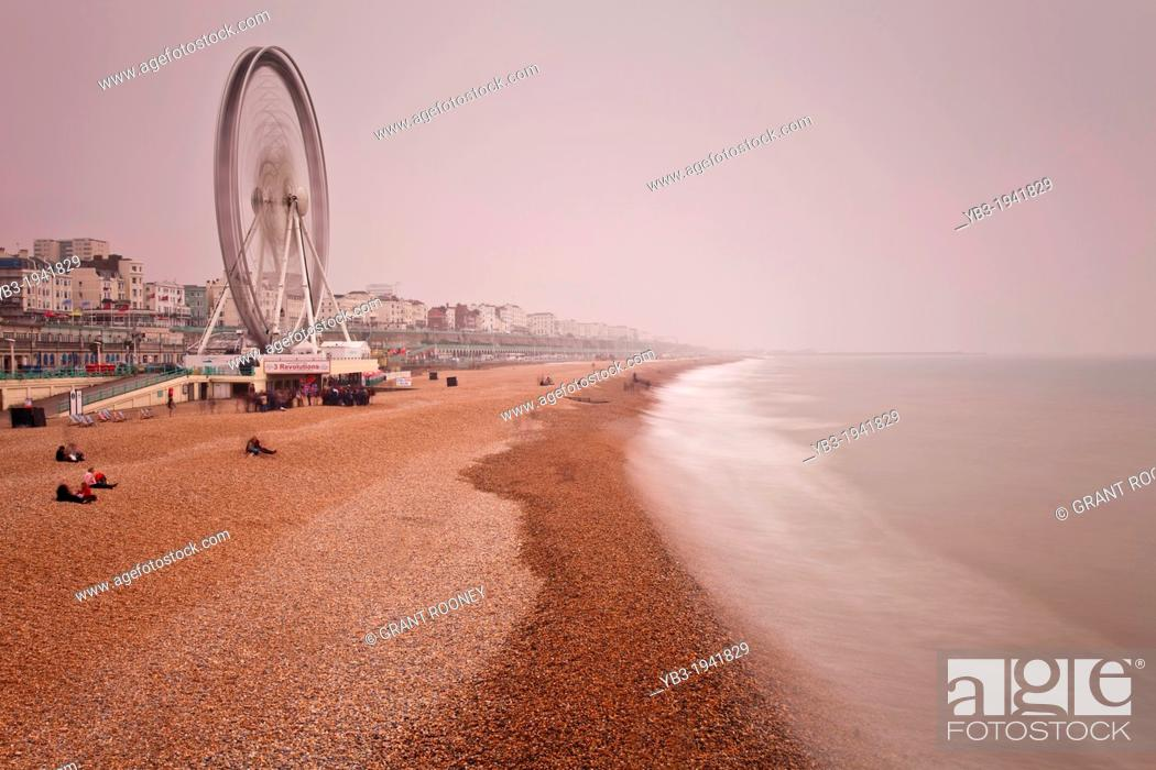 Stock Photo: Brighton Beach in Winter, Brighton, Sussex, England.