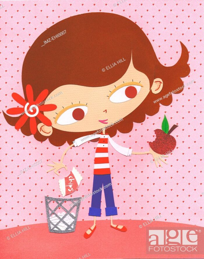 Stock Photo: A paper cut illustration of a young girl eating an apple instead of a bag of chips.
