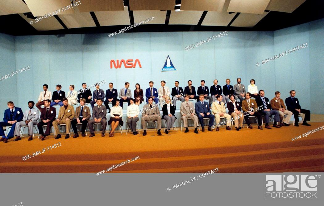 Stock Photo: The 35 new astronaut candidates, presented Jan. 31, 1978, in the Building 2 auditorium at NASA's Johnson Space Center, pose for photographers.