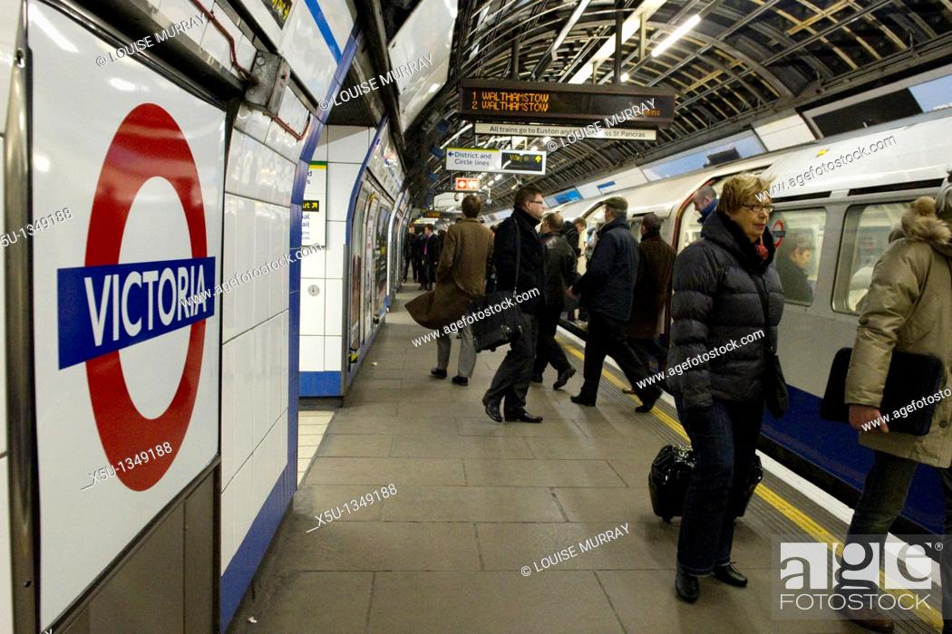 Stock Photo: Victoria tube station is the busiest underground station on London's tube network serving 77 million passengers a year Victoria line train  Photographed under.