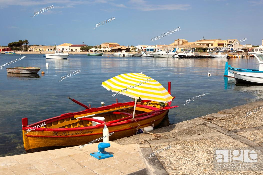 Stock Photo: Marzamemi harbour and town, Marzamemi, Sicily, Italy.