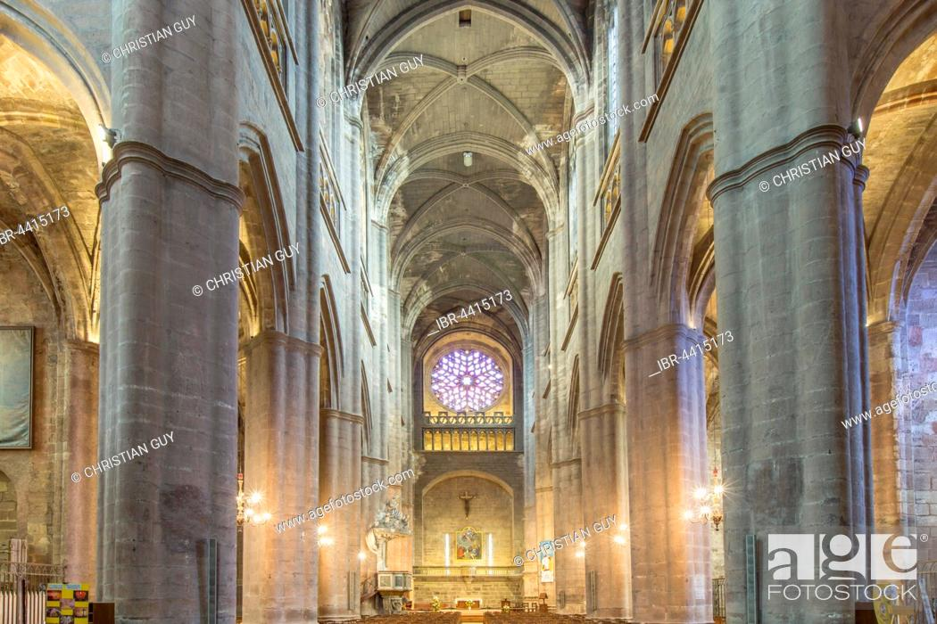 Stock Photo: Interior view, Notre-Dame Cathedral, 12th-16th century, Rodez, Aveyron, Languedoc-Roussillon-Midi-Pyrénées, France.