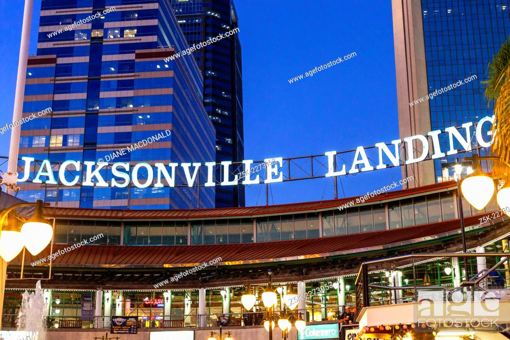 Stock Photo: Jacksonville Landing , Jacksonville, Florida, USA at dusk. The Jacksonville Landing is a complex of stores, restaurants and nightclubs in downtown Jacksonville.