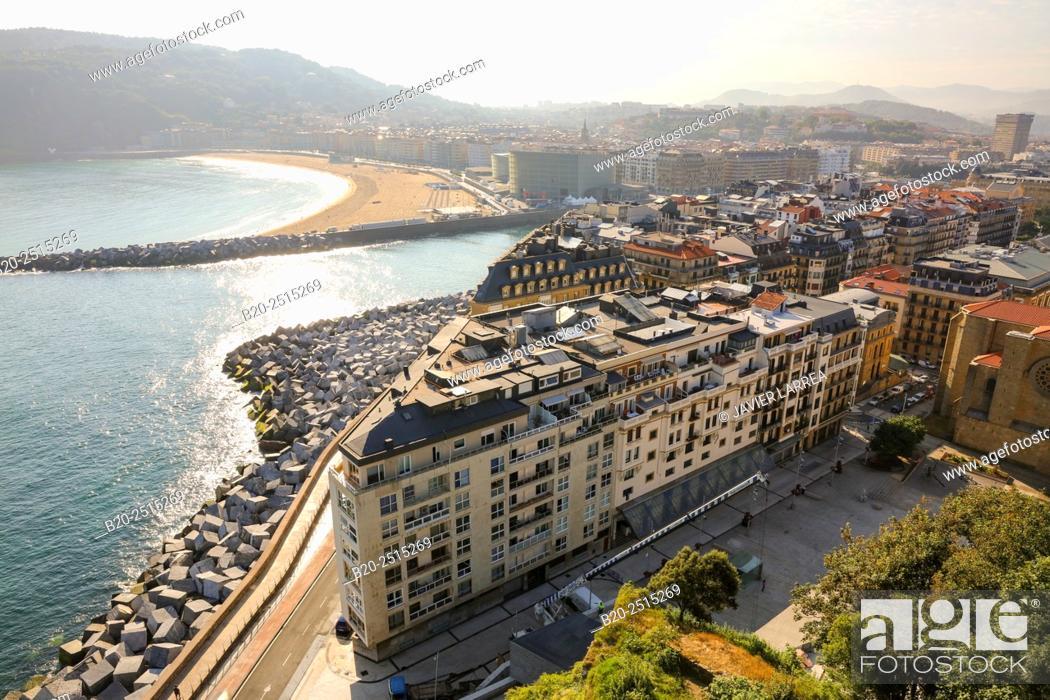 Stock Photo: Urumea river mouth. Zurriola beach. Donostia. San Sebastian. Gipuzkoa. Basque Country. Spain.