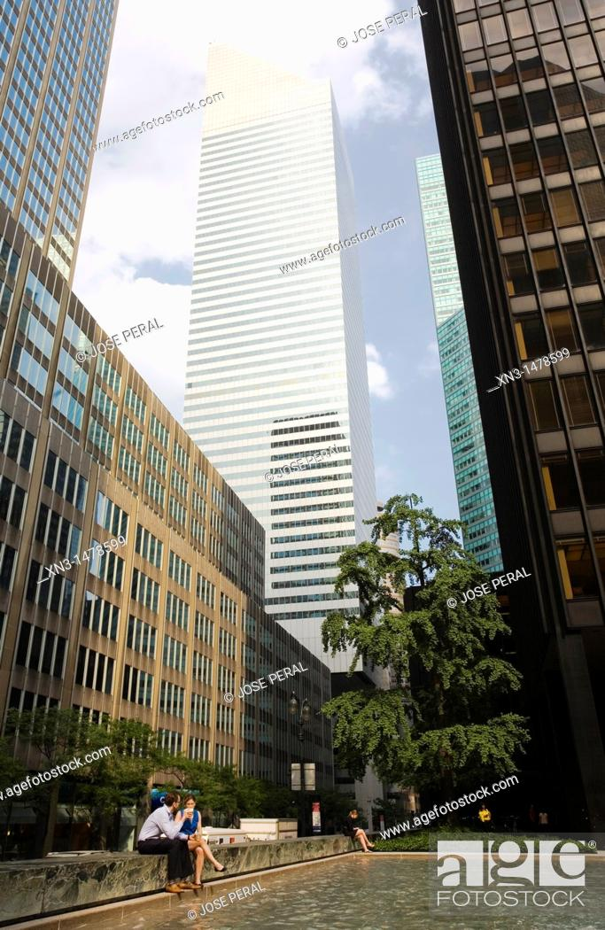 At Right Seagram Building By Ludwig Mies Van Der Rohe On Background