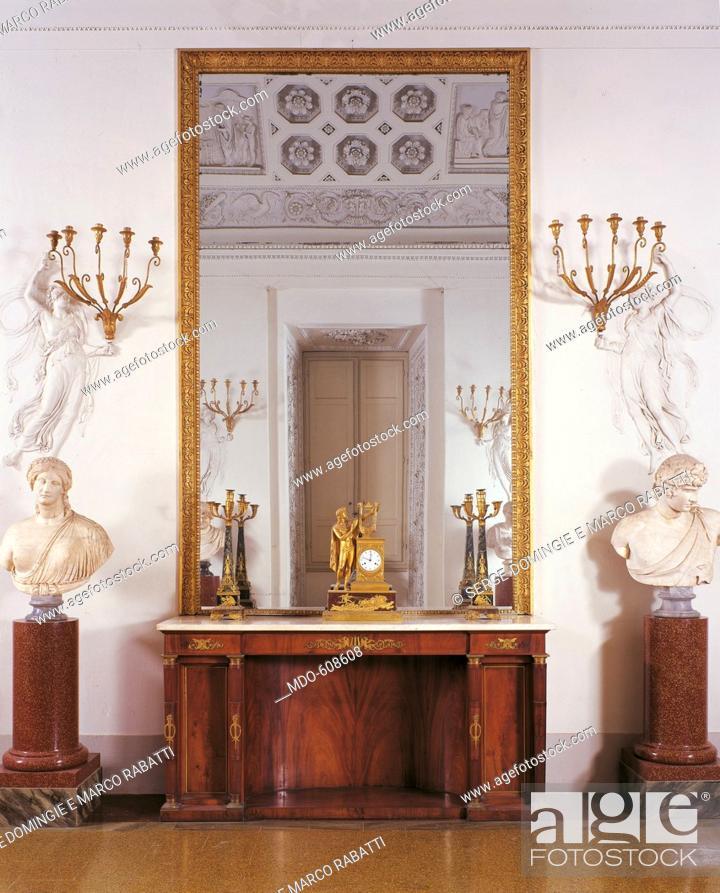 Stock Photo: Cupboard, by Solci Giuseppe, 19th Century, 1823 -1826, mahogany veneered, gilt metal applications, cm 214,5 x 106,5 x 60,5.