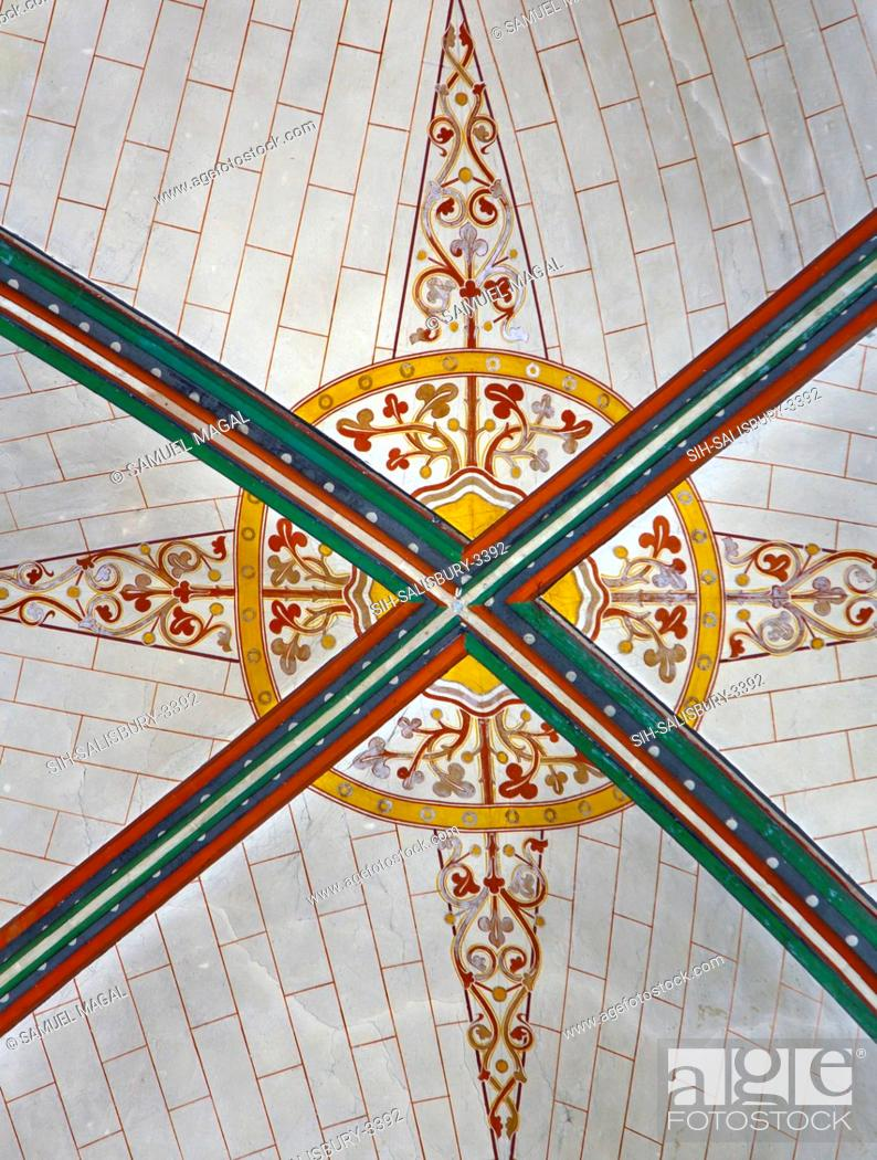 Stock Photo: Seen a decorated painted ceiling. The construction of the church began in 1220, and it was consecrated in 1258, with the Chapter House and Cloisters completed.