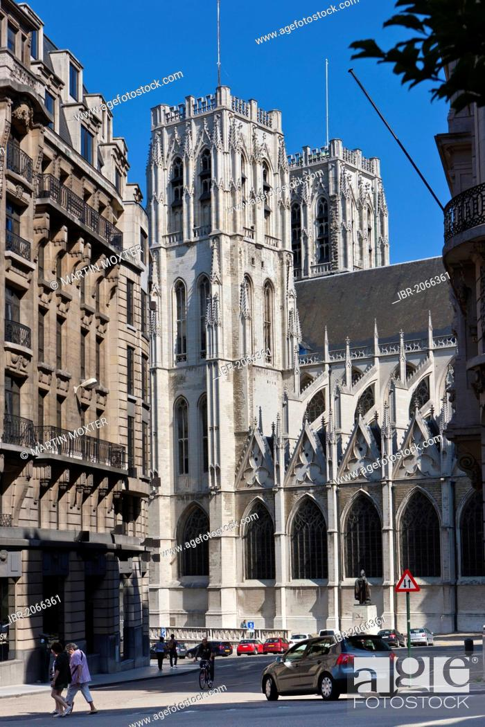 Stock Photo: Cathedral de San Michel, St. Michael and St. Gudula Cathedral, Place Sainte-Gudule, Brussels, Belgium, Benelux, Europe.