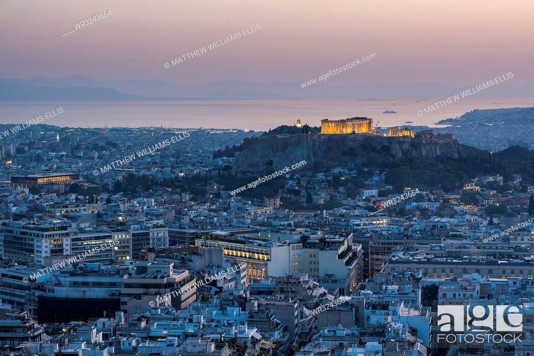 Stock Photo: View over Athens and The Acropolis at sunset from Likavitos Hill, Athens, Attica Region, Greece, Europe.