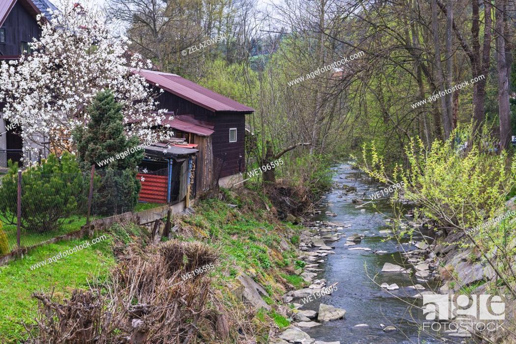Stock Photo: Bystrice river in Valasska Bystrice village in Moravian Wallachia region in Beskids Mountains, Czech Republic.