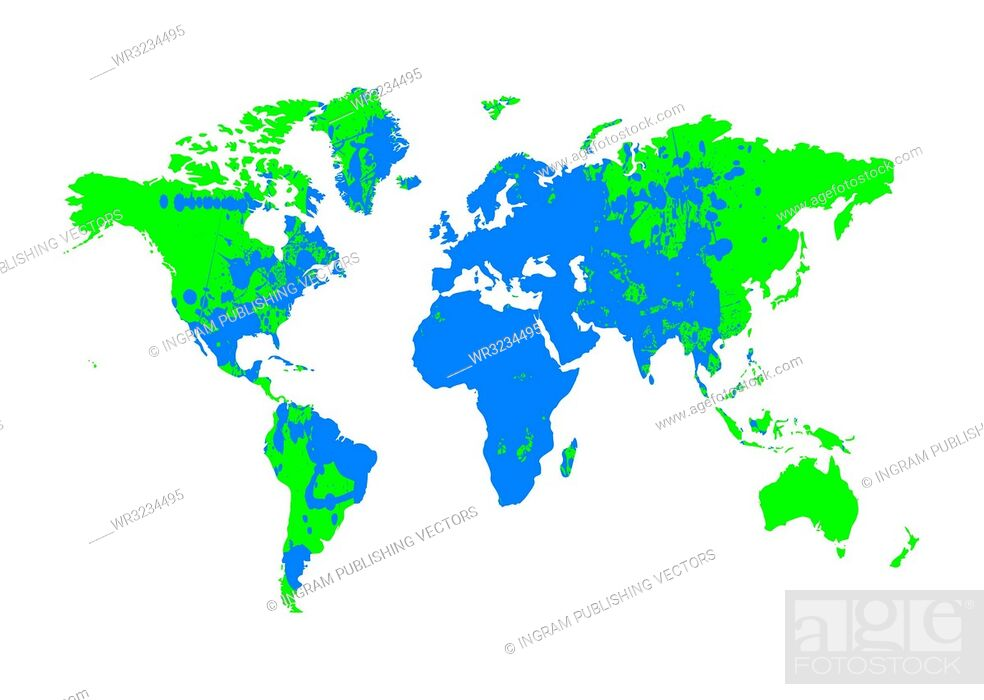 Stock Vector: Grunge blue and green earth map with ink splat elements.