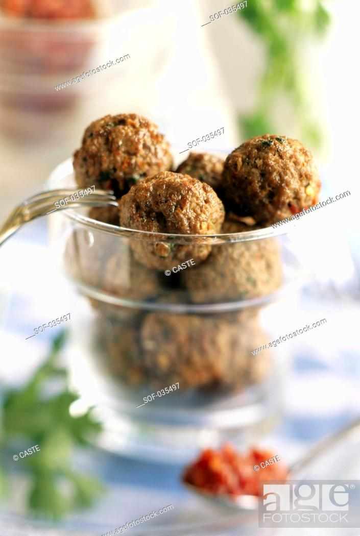 Stock Photo: Tunisian beef balls with mint and coriander.