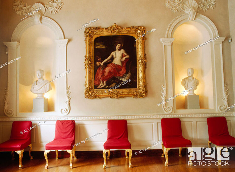 Stock Photo: 18th century room in Newman House museum, Dublin. Ireland.