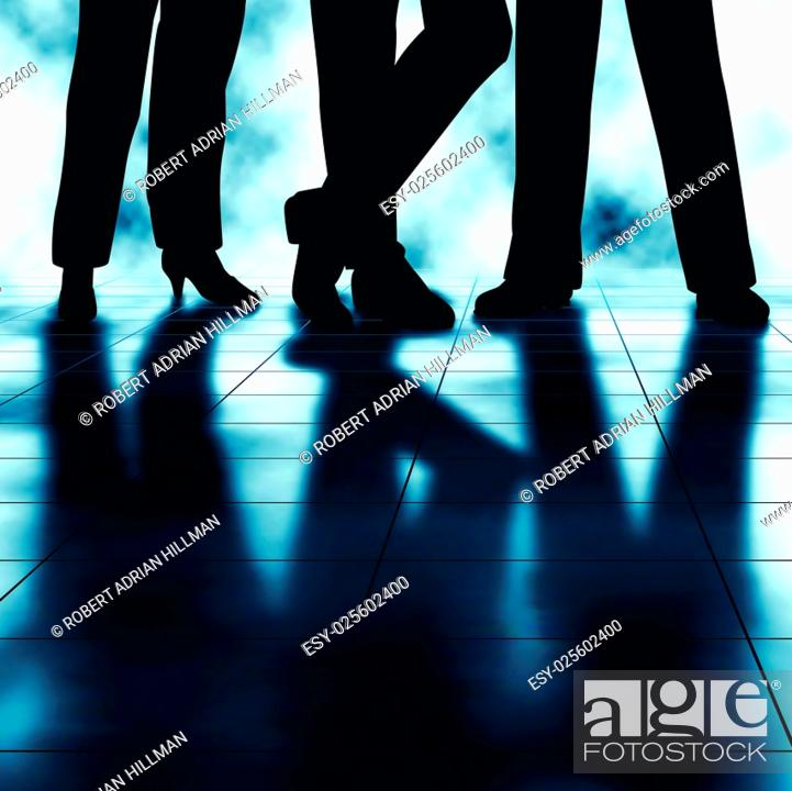 Vector: Editable vector illustration of the legs and reflections of three businesspeople made using a gradient mesh.