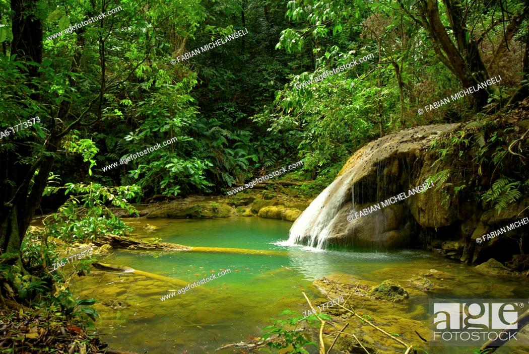 Stock Photo: Waterfall and idyllic emerald pond in Turuépano National Park, Eastern Venezuela.