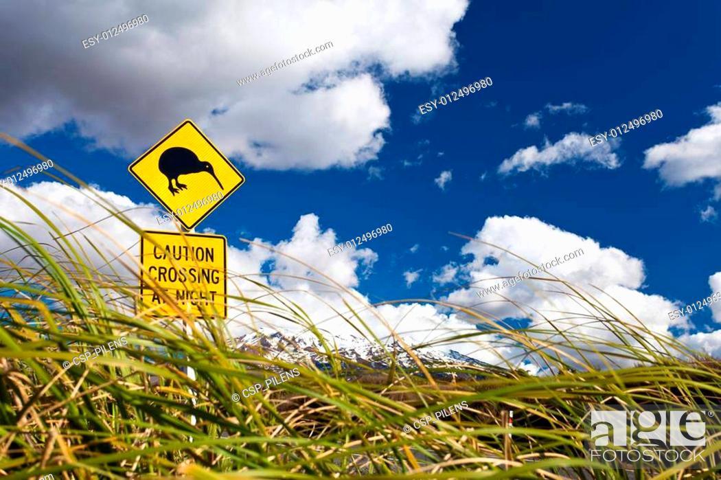 Stock Photo: Kiwi Crossing road sign and volcano Ruapehu in NZ.