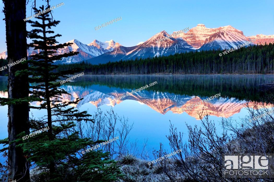 Stock Photo: Herbert Lake and Bow Range, Banff National Park, Alberta, Canada.