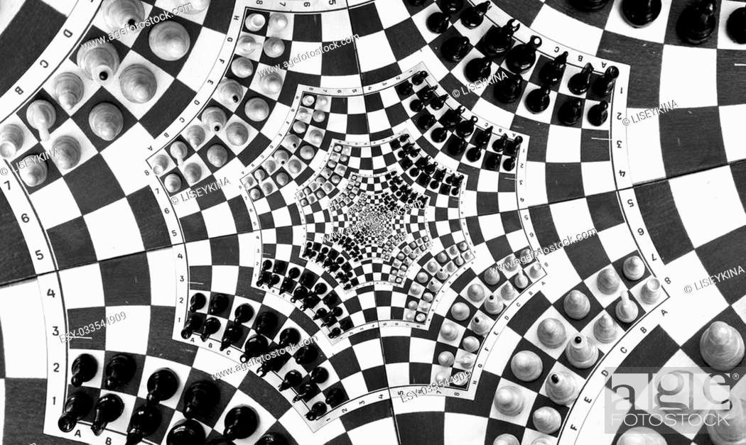 Stock Photo: Digital generated image Looks like infinity chess game.