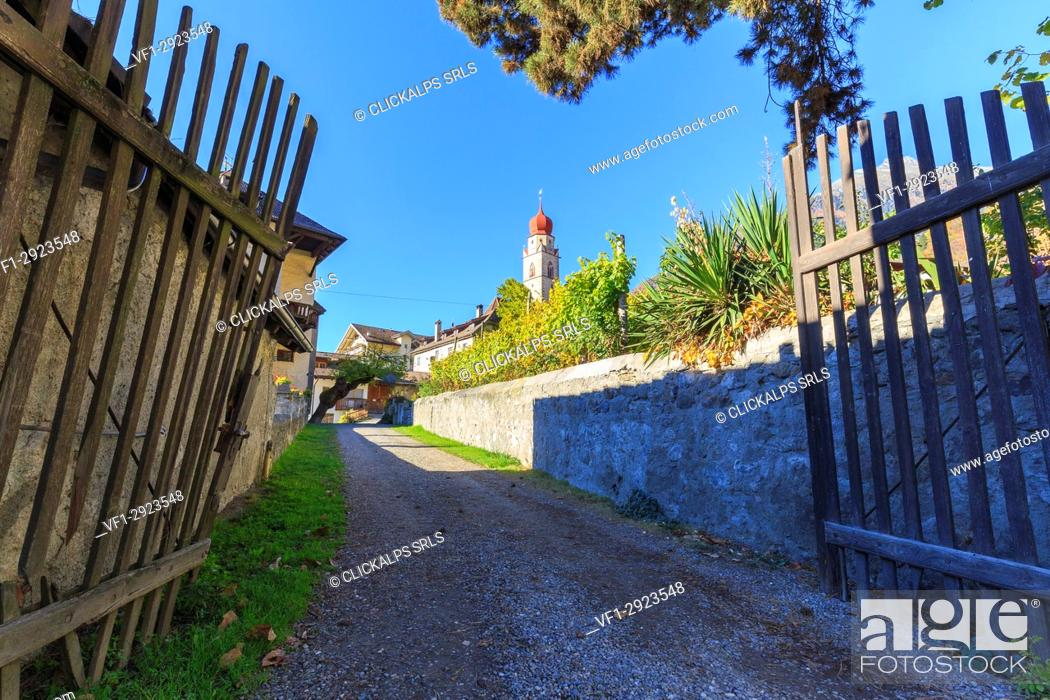 Stock Photo: Glimpse of the village of Parcines with its typical church. Parcines, Val Venosta, Alto Adige/Sudtirol, Italy, Europe.