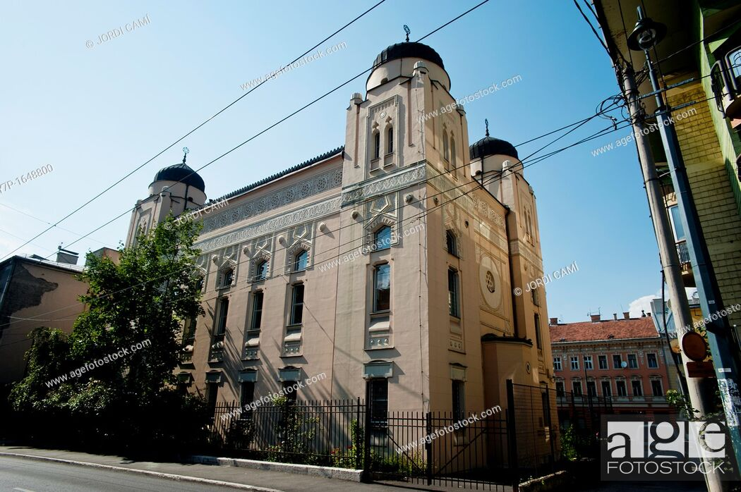 Stock Photo: Sarajevo Synagogue , built in Moorish Revival style in 1902, designed by Karel Parik  Bosnia- Herzegovina  Balkans Europe.