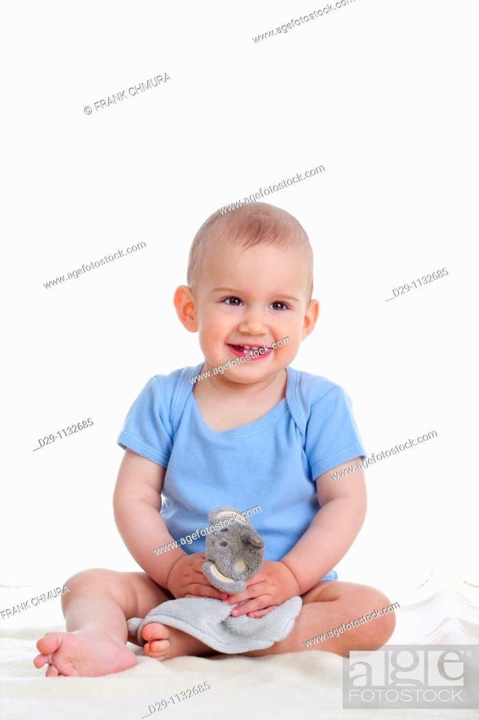 Stock Photo: portrait of sweet little baby boy - isolated on white.