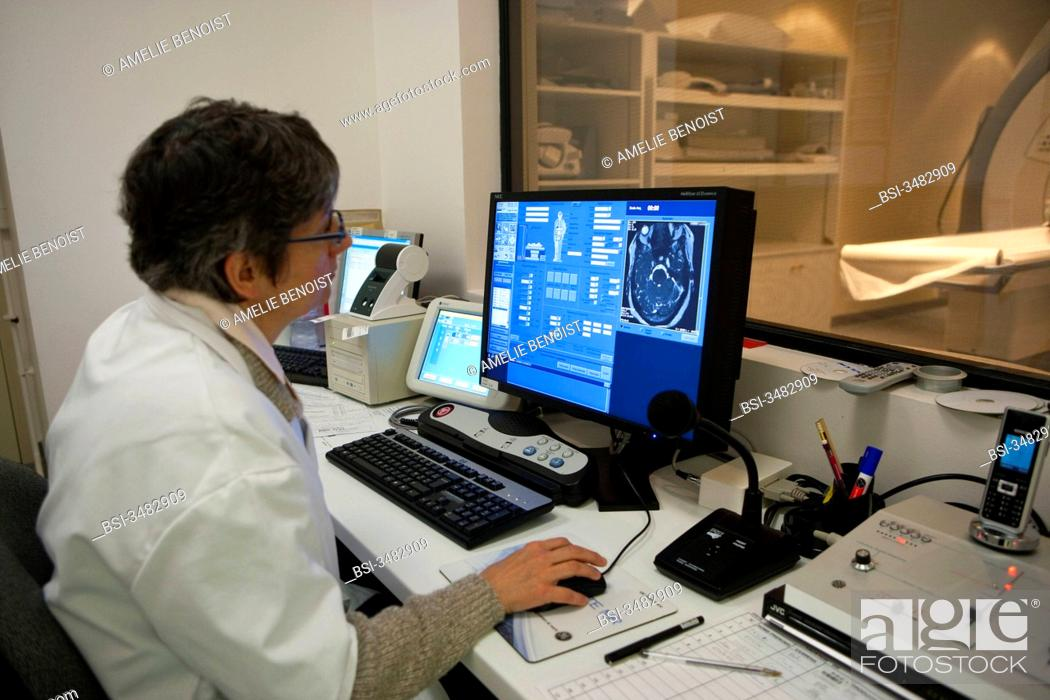 Stock Photo: Photo essay at the department of medical imagery of the Diaconesses hospital in Paris, France. Head MRI.