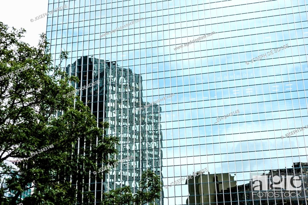 Stock Photo: Reflections in the glass of th PPG PLACE AND OBELISK 1984, architects Philip Johnson and John Burgee, Pittsburgh.