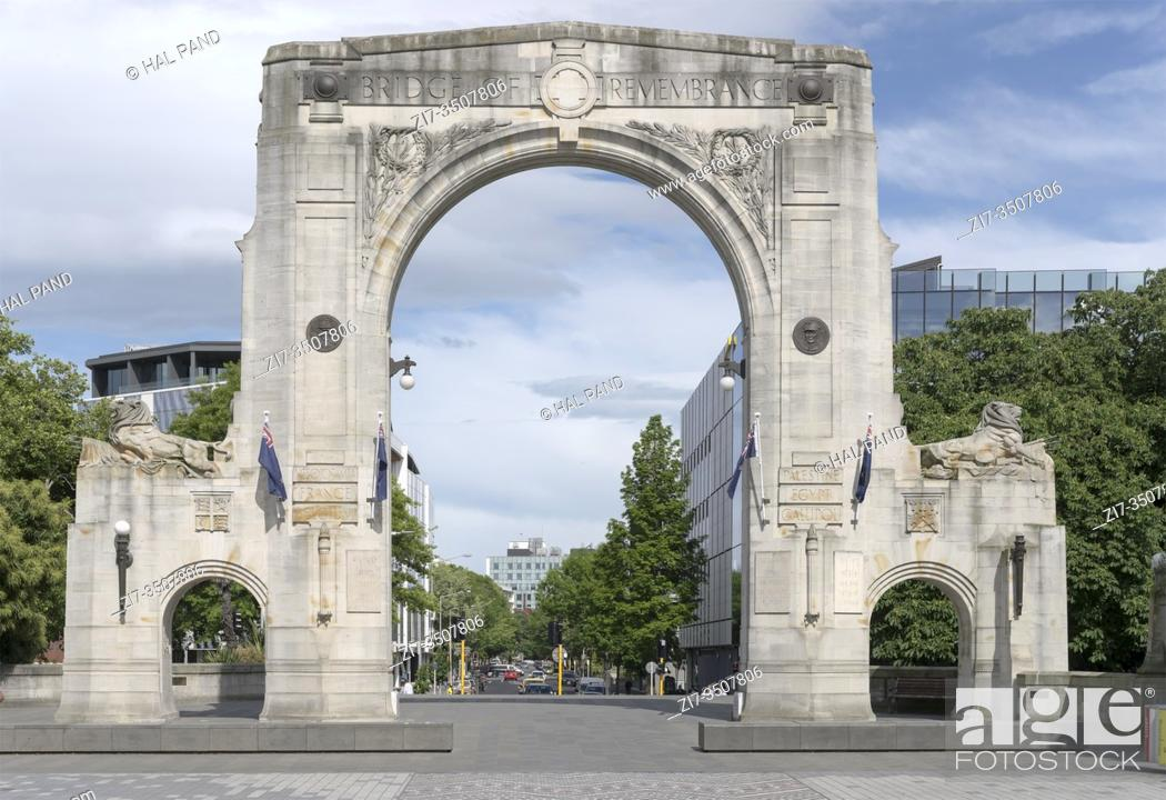 Stock Photo: cityscape with monumental Remebrance Bridge arch, shot in bright spring light at Christchurch, South Island, New Zealand.