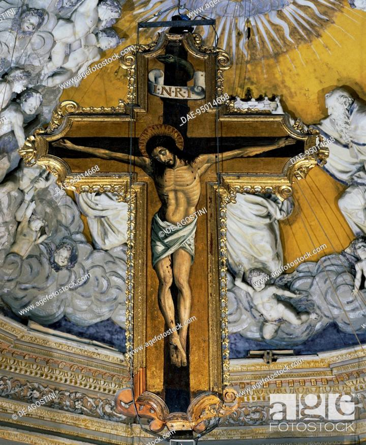 Stock Photo: Crucifix in the Cathedral of Enna (14th century), Enna, Sicily, Italy.