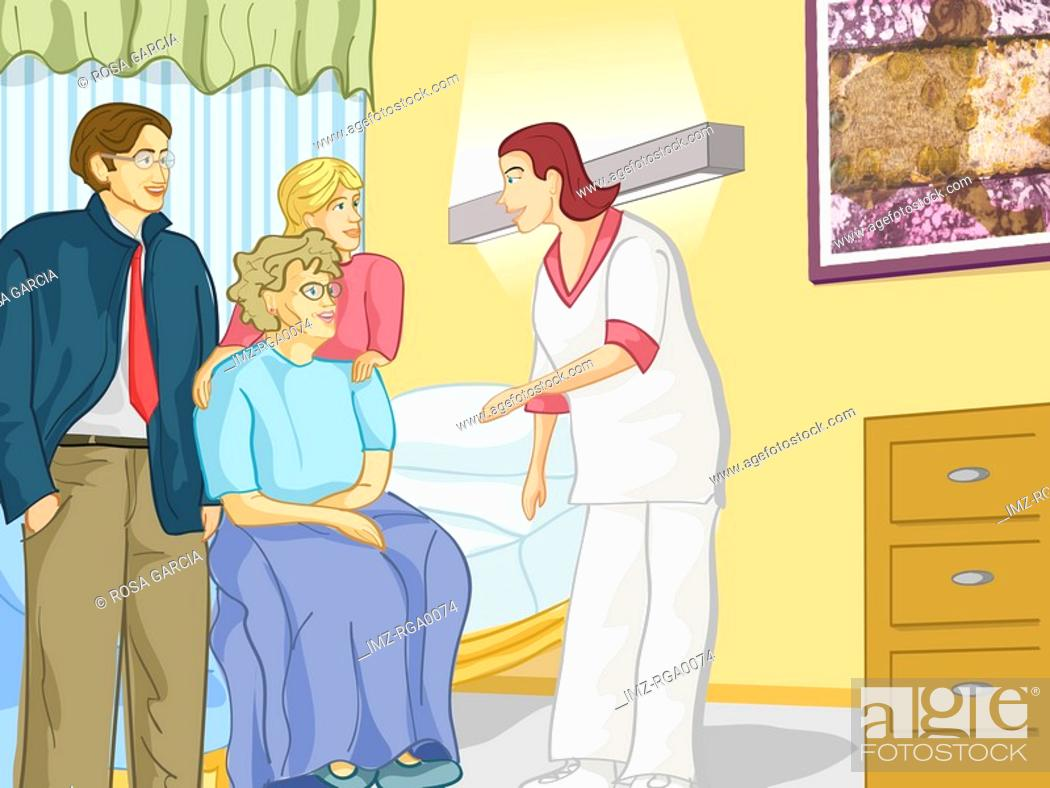 Stock Photo: A health care worker talking to an elderly woman and her family in a residents room.