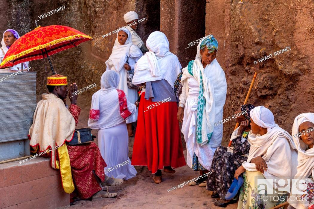 Stock Photo: Christian Pilgrims At Bete Maryam Church At Christmas Time, Lalibela, Ethiopia.