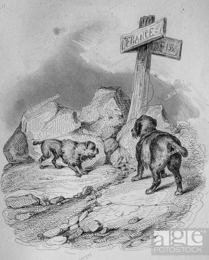 Photo de stock: the little dog, florian fables illustrated by victor adam, publisher delloye, desme 1838.