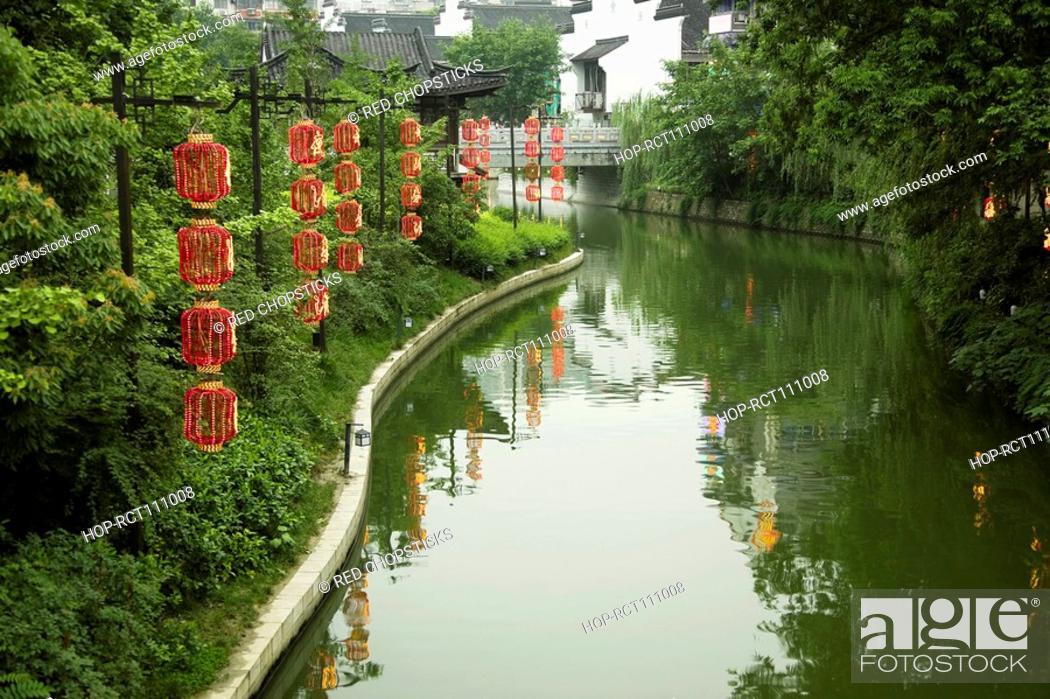 Stock Photo: Reflection of trees in water, Nanjing, Jiangsu Province, China.