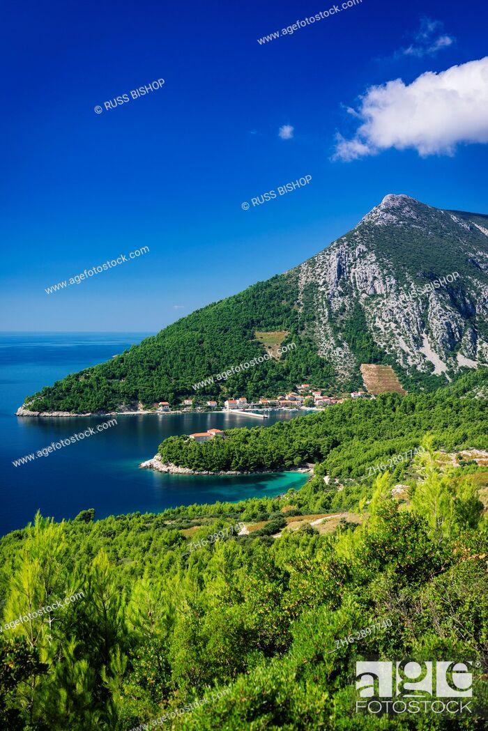 Stock Photo: The village of Trstenik on the Peljesac Peninsula above the Adriatic Sea, Dalmatia, Croatia.